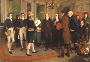 An artist's depiction of the Treaty of Ghent.
