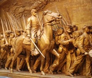 Robert Gould Shaw leads the 54th Massachusett's Infantry.